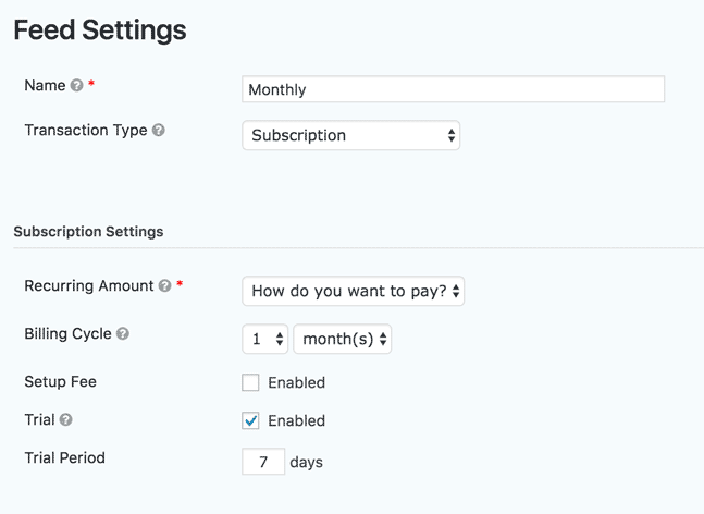 stripe feed settings configuration page in WordPress