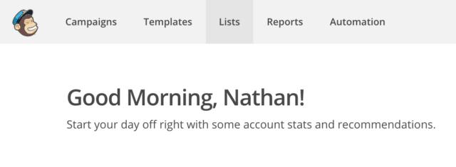 login to mailchimp
