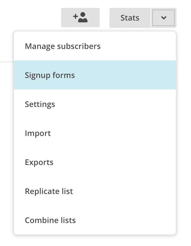 list settings dropdown