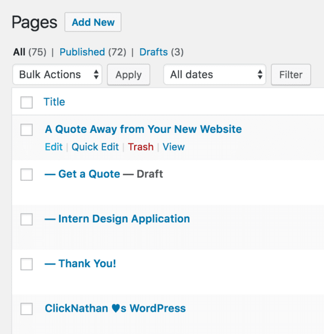 partial screenshot of Pages listing in WordPress