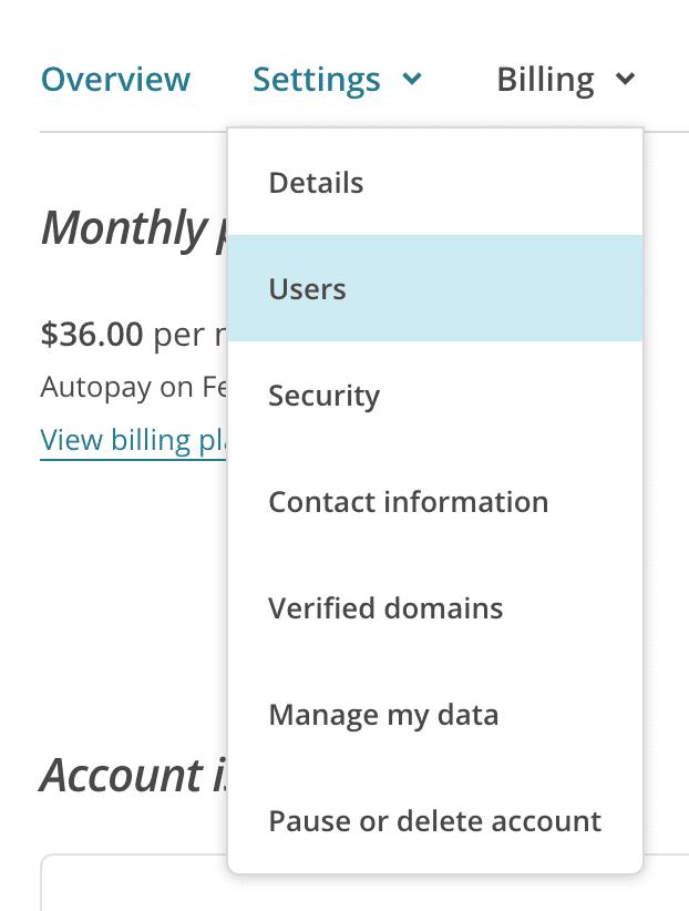 settings > users