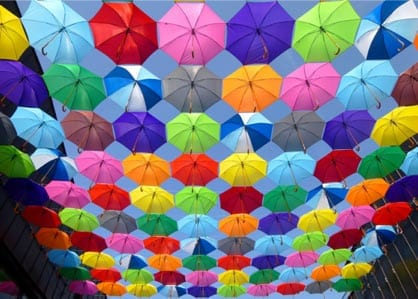 a bunch of colorful umbrellas