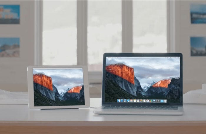 a single mac os x install on two displays, a macbook pro and an ipad