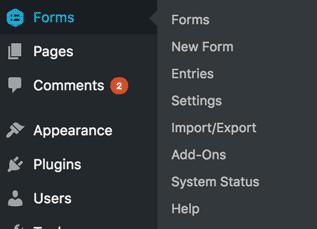 WordPress Menu to get into Gravity Forms