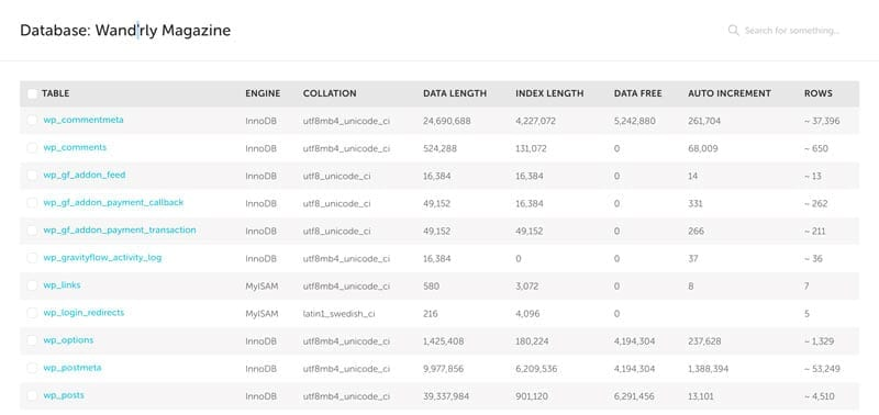 screenshot of flywheel's custom database manager