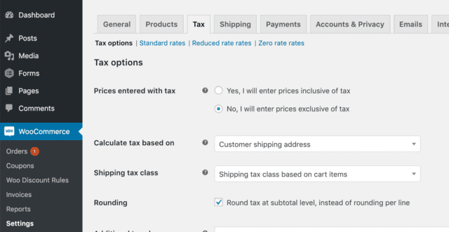 example of where woocommerce taxes are located in WordPress