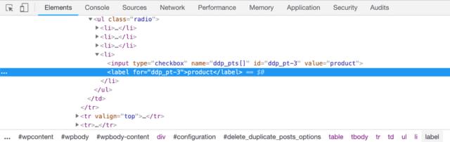 screenshot of the Chrome inspector