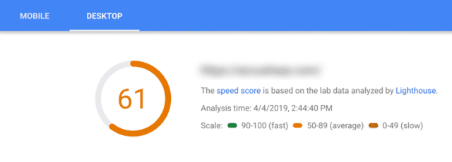 61 pagespeed score