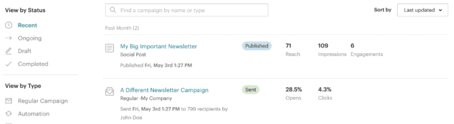 mailchimp's list of campaigns