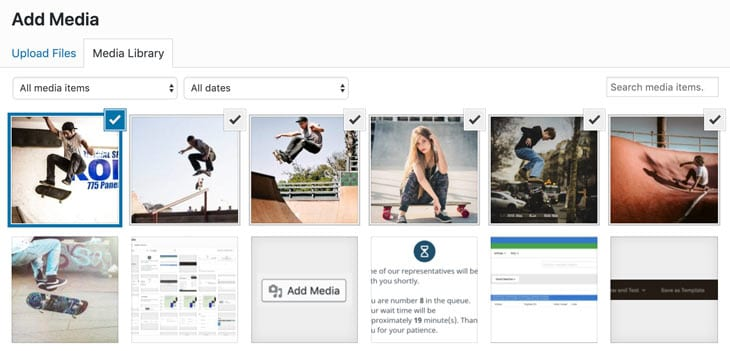 screenshot of multiple images chosen in the add media popup