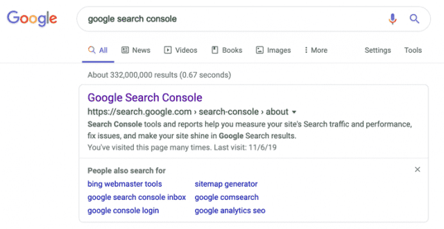 "screenshot of a google search for ""google search console"""
