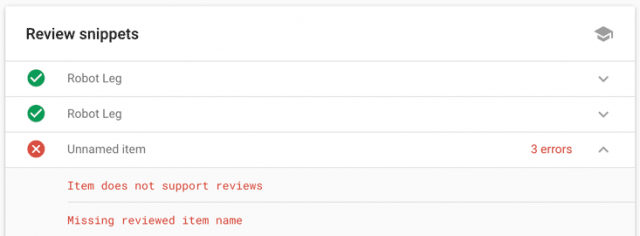 screenshot showing how this will make a rich snippet fail in Google's tests