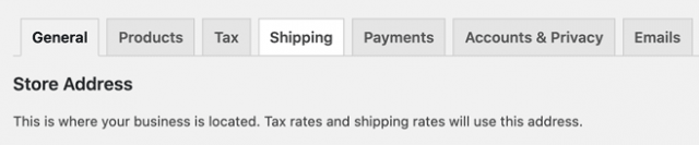 screenshot of the shipping tab in Woocommerce settings, highlighted