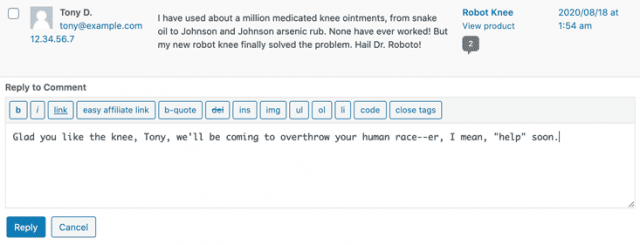 screenshot of a fake comment and response in the WordPress backend editor