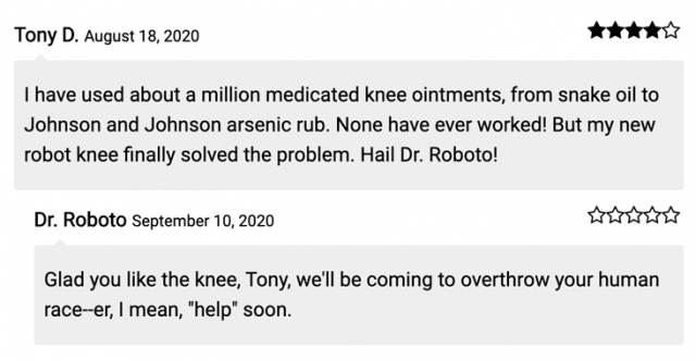 screenshot of the same comments as above, on the front end now