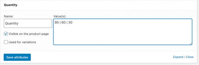 screenshot of adding custom attribute terms