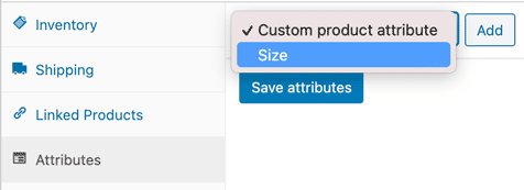 screenshot of how to choose a predefined attribute in woocommerce
