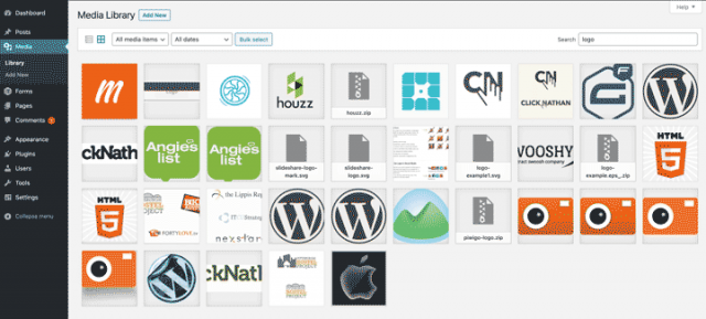 screenshot showing various logos in a WP Media Library